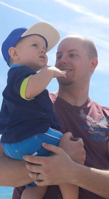 Isaiah and Daddy at beach